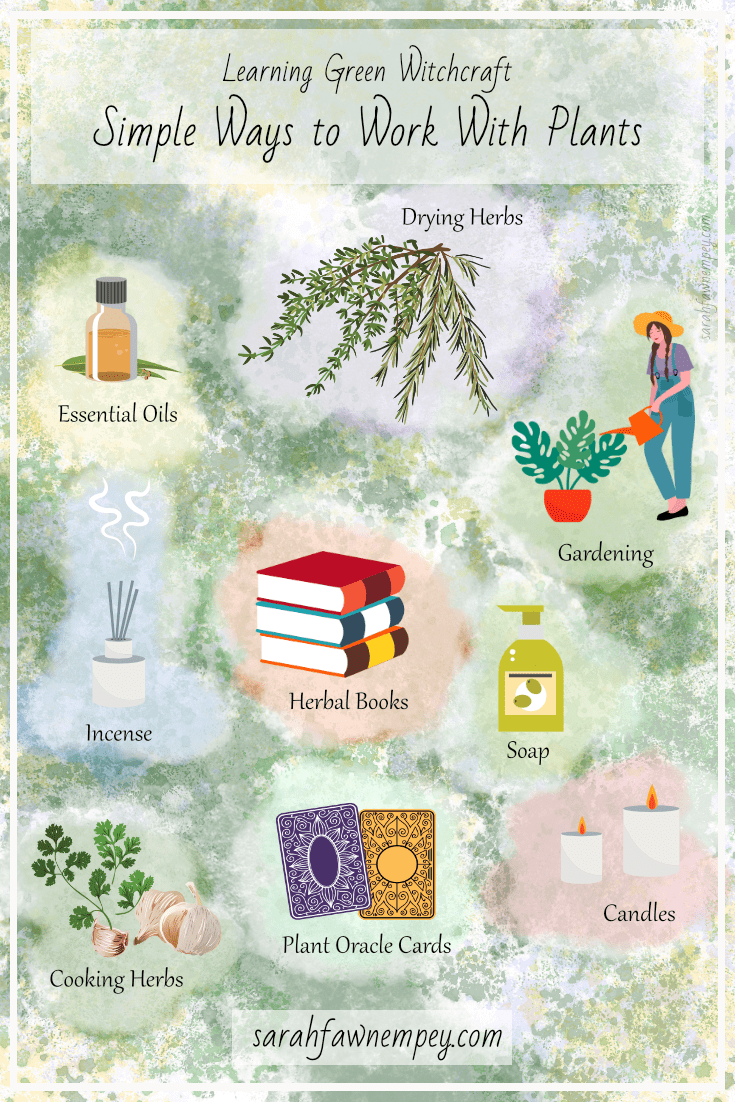 Learning Green Witchcraft: Simple Ways to Work With Plants #greenwitchcraft In this magickal resource I'm sharing some simple ways to connect with the wisdom and magick of plants. So grab a cuppa or some gardening gloves and let's dive into the realms of everyday plant magick! #greenwitchcraft