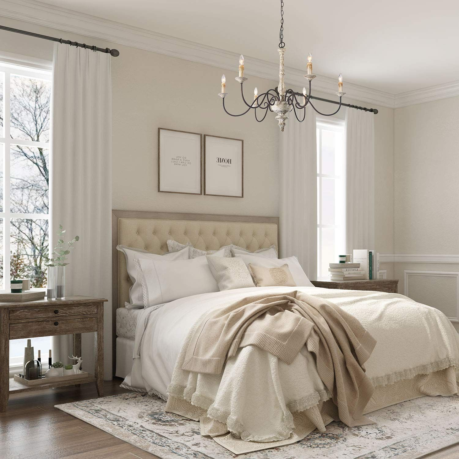 Laluz French Country Chandelier White Distressed Wood Hanging Light Fixtures Living Roo In 2020 Master Bedroom Lighting Master Bedrooms Decor French Country Chandelier