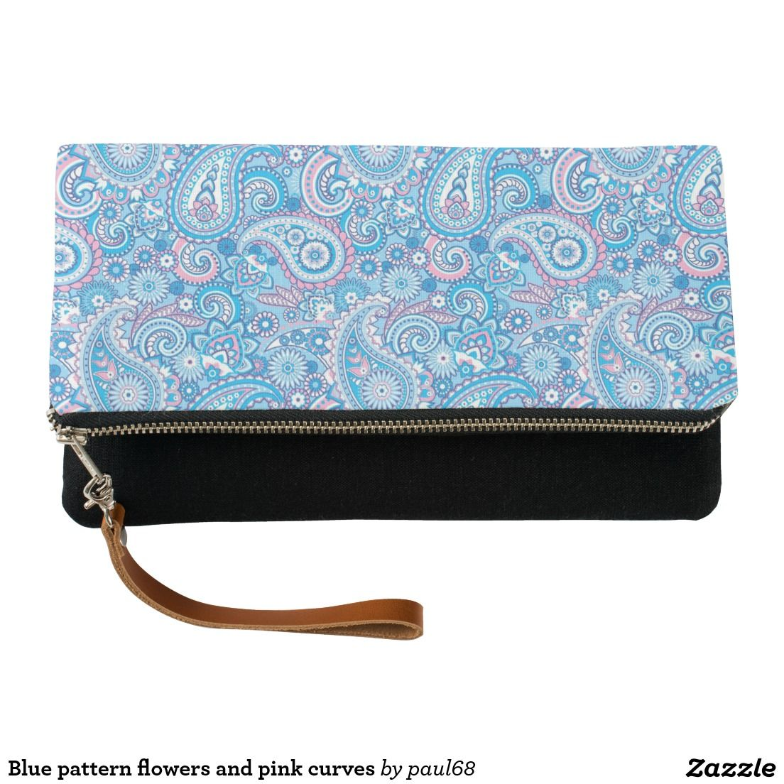 Blue pattern flowers and pink curves clutch