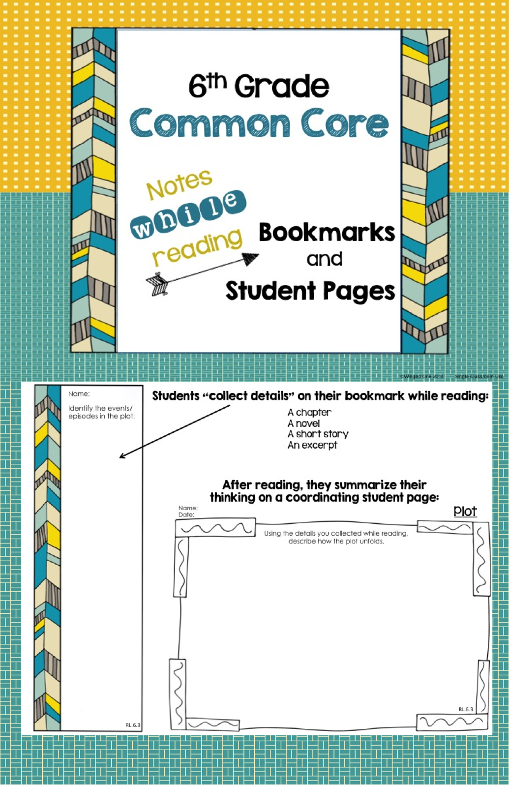 6th Grade Common Core Notes While Reading Bookmarks And Student