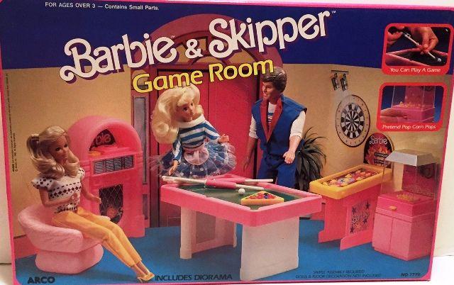 NEW RARE ~ 1988 Barbie & Skipper Game Room #7770