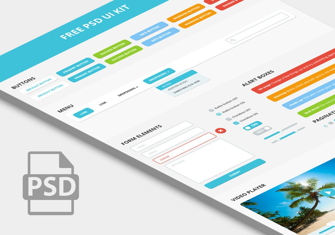 Free PSD UI Kit, based on Bootstrap components, suitable for any ...
