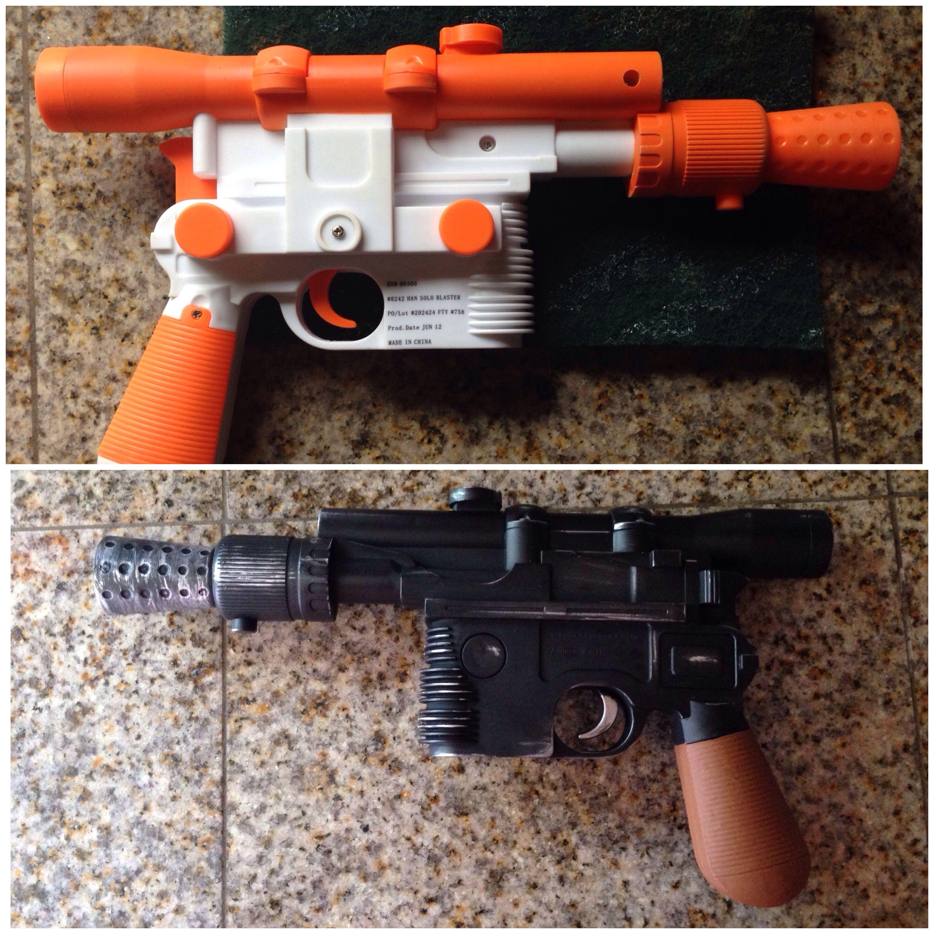 Han Solo Blaster 1. Sand 2. Spray paint black 3. Rub n' Buff silver for distressing 4. Paint handle brown 5. Matte spray finish