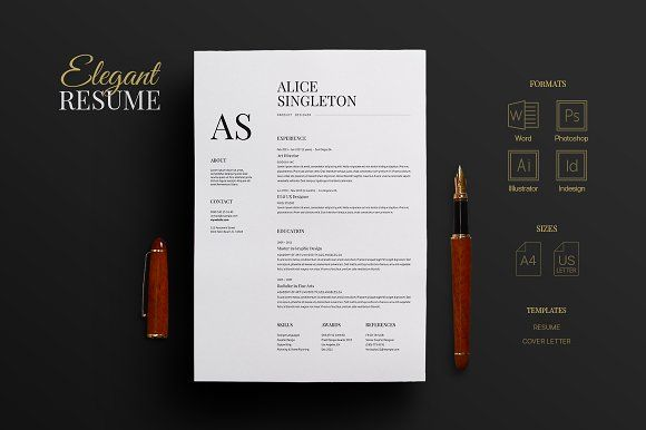 Elegant Resume By Nicodin On Creativemarket  Creative Resume And