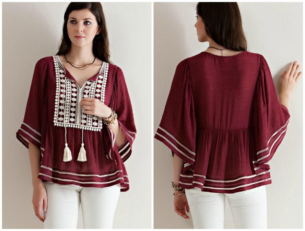 Burgundy Crochet Blouse-burgundy boutique top, boutique clothing, women's boutique clothing, entro boutique clothing