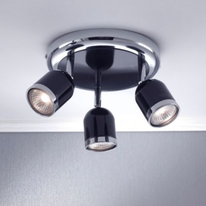 Edge black gloss 3 lamp round spotlight departments diy at bq new kitchenspotlightrounding