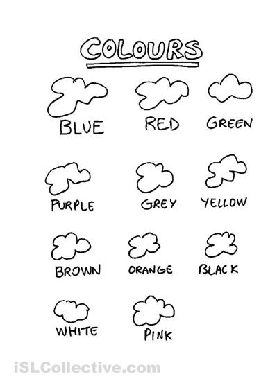 color worksheets for esl students
