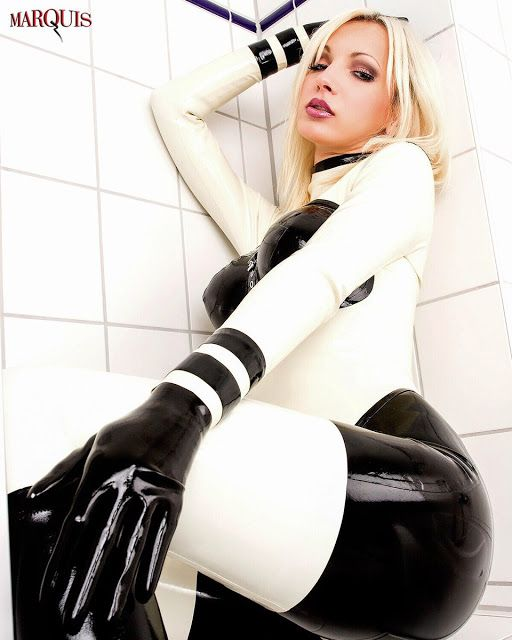 Sexy blonde latex models