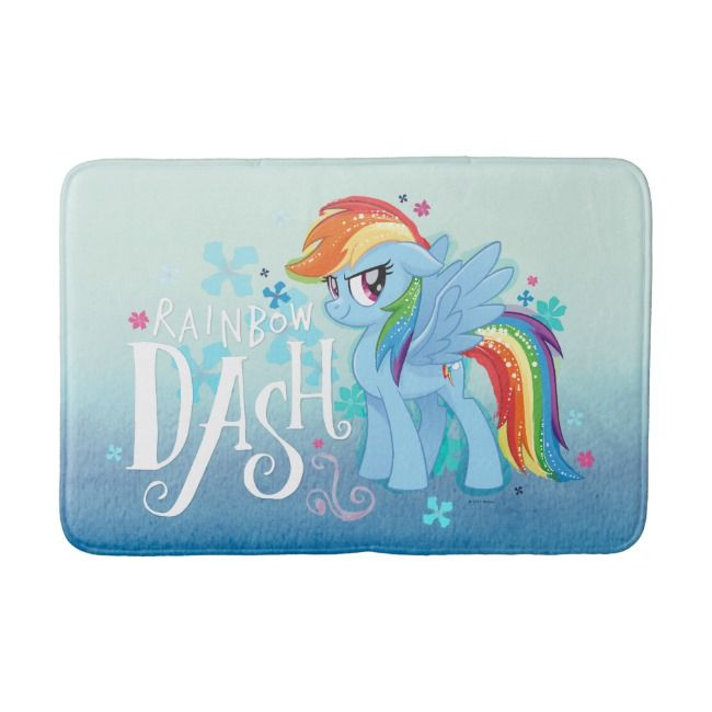 My Little Pony Rainbow Dash Watercolor Flowers Bath Mat Zazzle