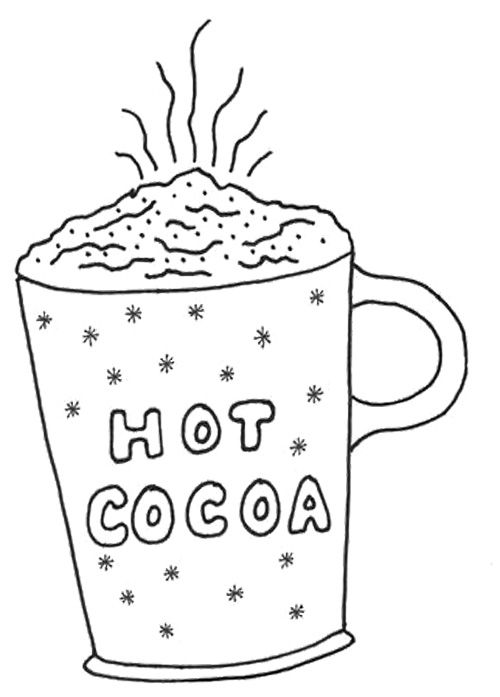 Hot Cocoa Coloring Page winter Pinterest Embroidery Free