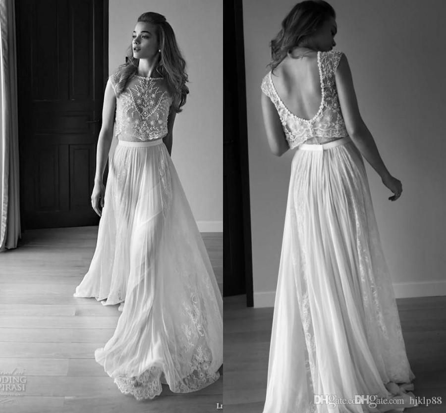 Lihi Hod 2015 Summer Lace Two Pieces Beach Wedding Dresses