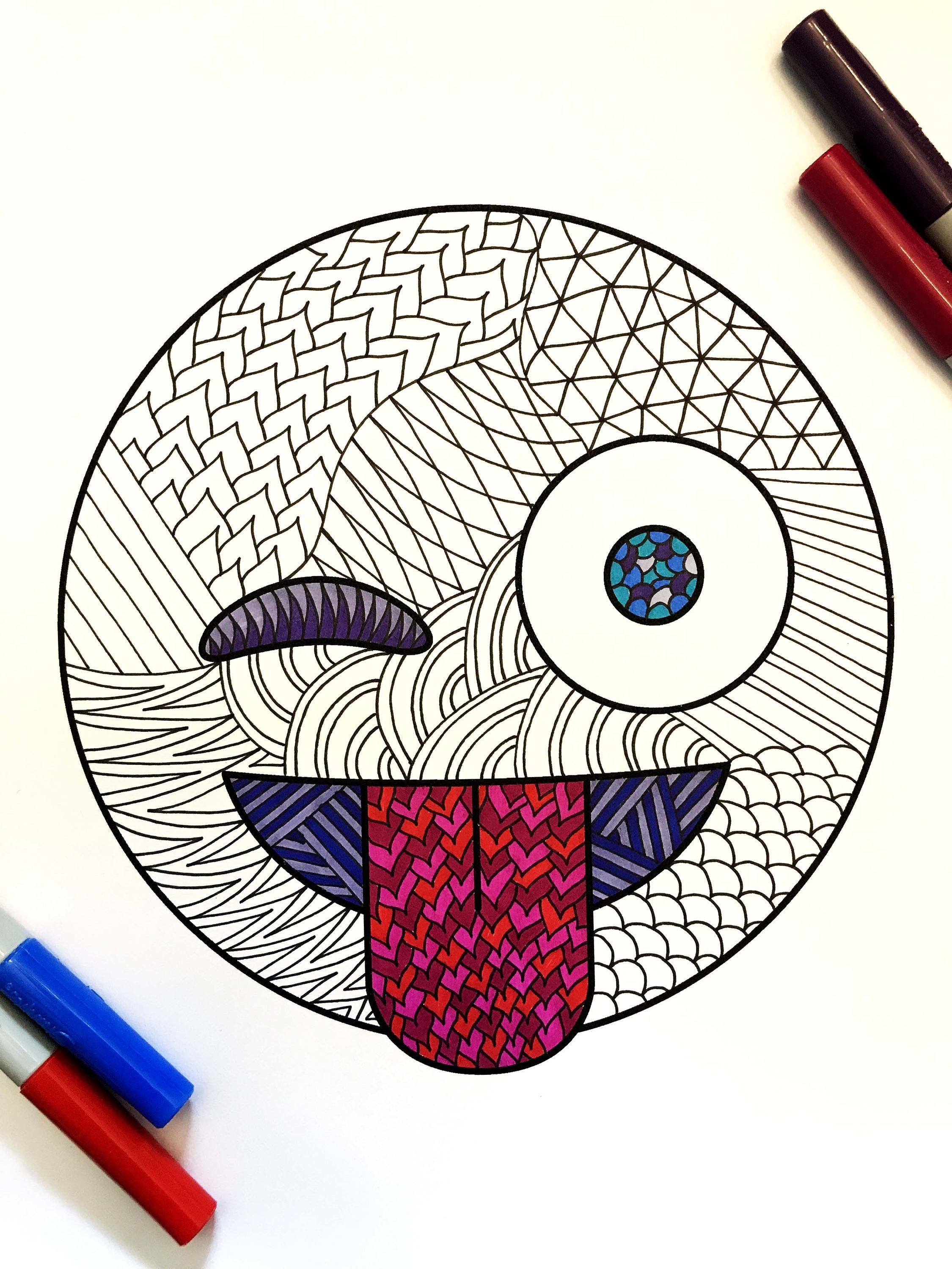 Tongue-Out and Winking Emoji – PDF Zentangle Coloring Page