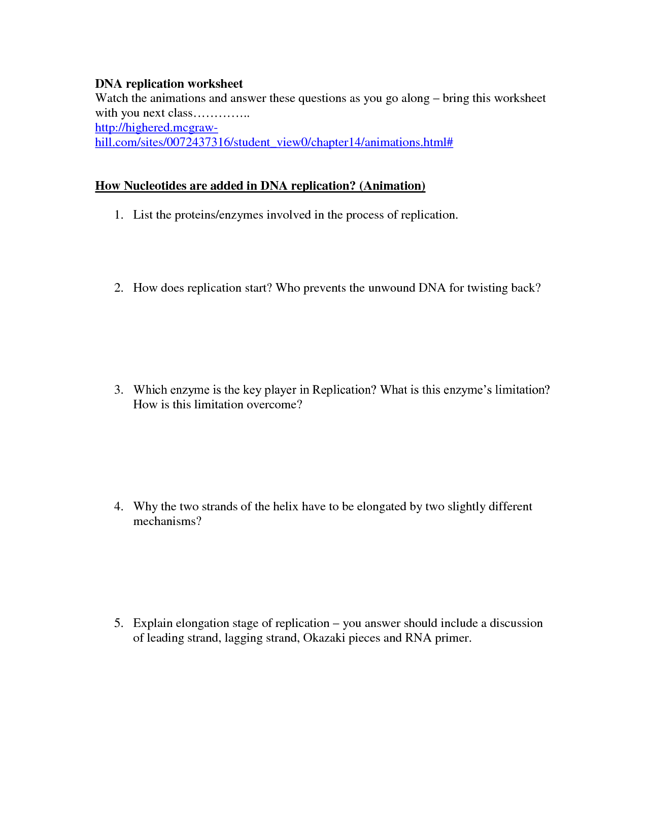 Dna Replication Worksheet Answers