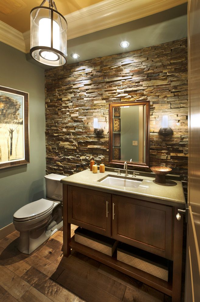 Surprising Stone Wall Decorating Ideas For Foxy Bathroom Craftsman Design Ideas With Beige Ceiling Crown M Craftsman Bathroom Bathrooms Remodel Bathroom Themes