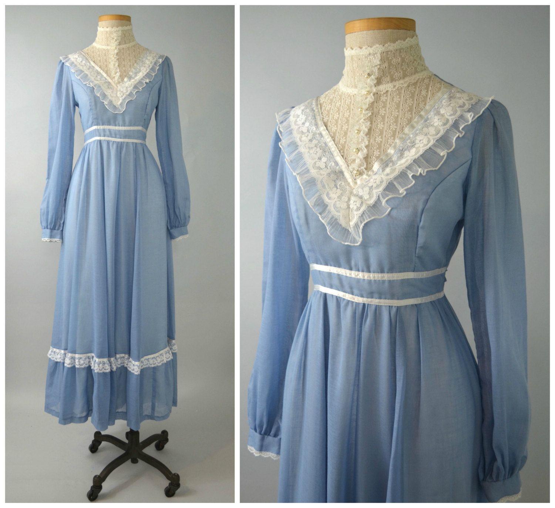 Sissy | Vintage 70s Gunne Sax Blue Maxi Dress | 1970s White Lace ...