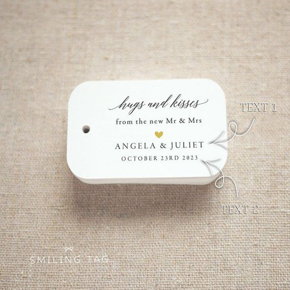 fdc3a4e8b490 Hugs and Kisses Wedding Favor Tags, Personalized Gift Tags,Bridal ...