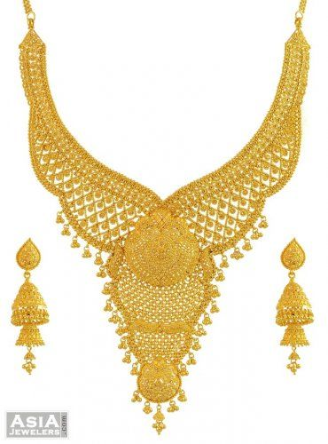 22k Yellow Gold Bridal Necklace Set Ajst55081 Us 6 094 22k Yellow Gold Exclusive In 2020 Bridal Gold Jewellery Designs Gold Bridal Necklace Bridal Necklace Set