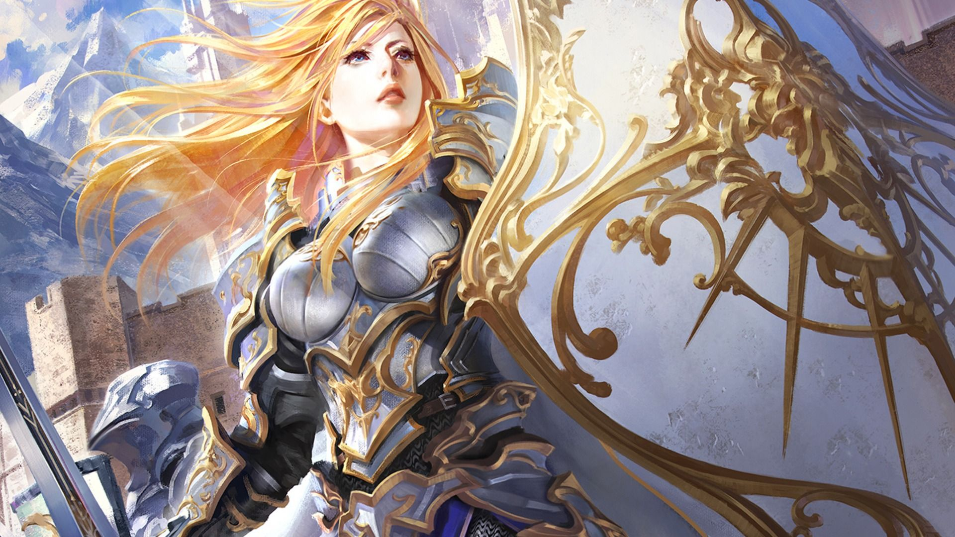 download wallpaper girl armor sword shield fantasy