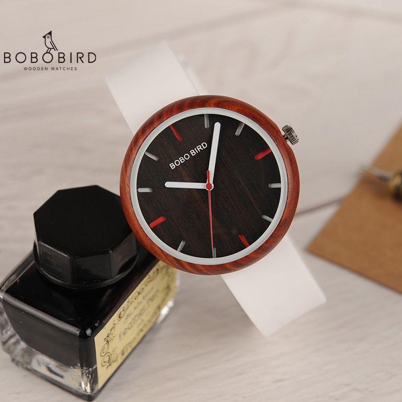 Reloj Mujer Bobo Bird Women Watch Wood Silicone Band Quartz Wristwatches Bayan Kol Saati With