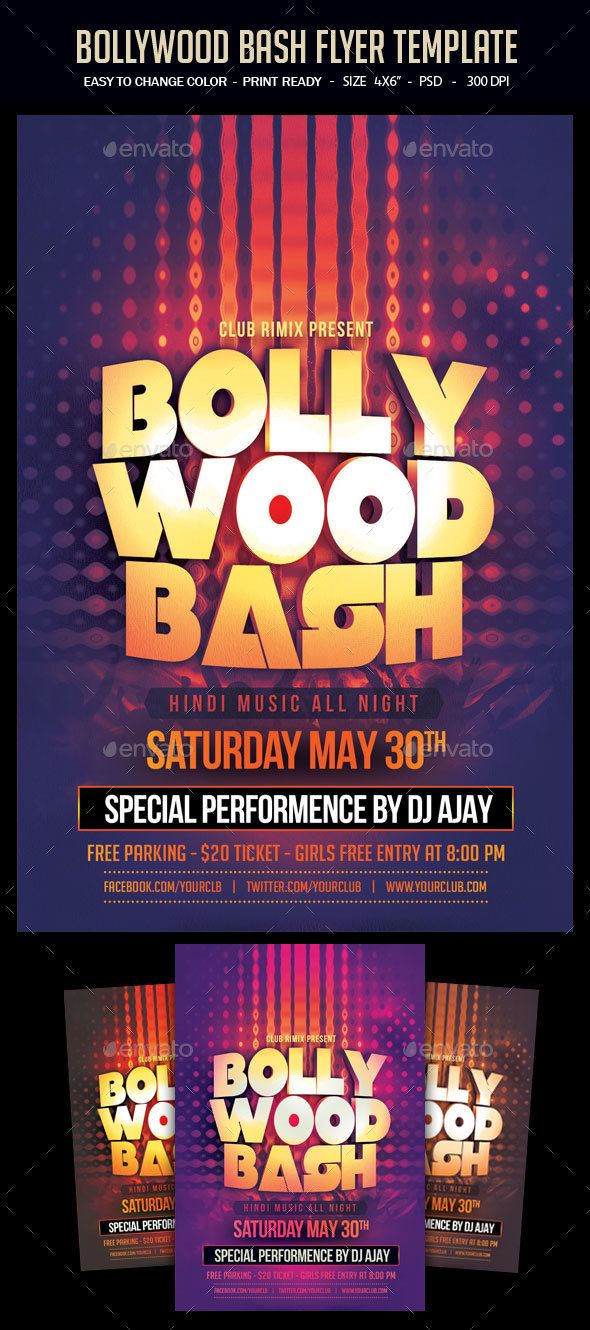 Buy Bollywood Bash Flyer Template By Studiorgb On GraphicRiver A Unique Party Invitation Design For Your Next
