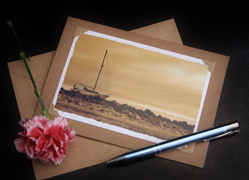 Sepia Boat Beach Photo Note card - photo greeting card - blank note card - sepia photo cards - photographic greeting cards by SJEPhotography on Etsy