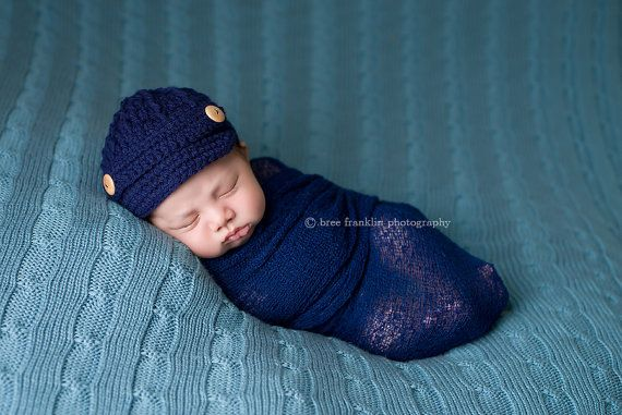 a3d5c0656 Baby Boy Newsboy Cap / Hat / Brim / Beanie - Navy Blue - Knitted ...