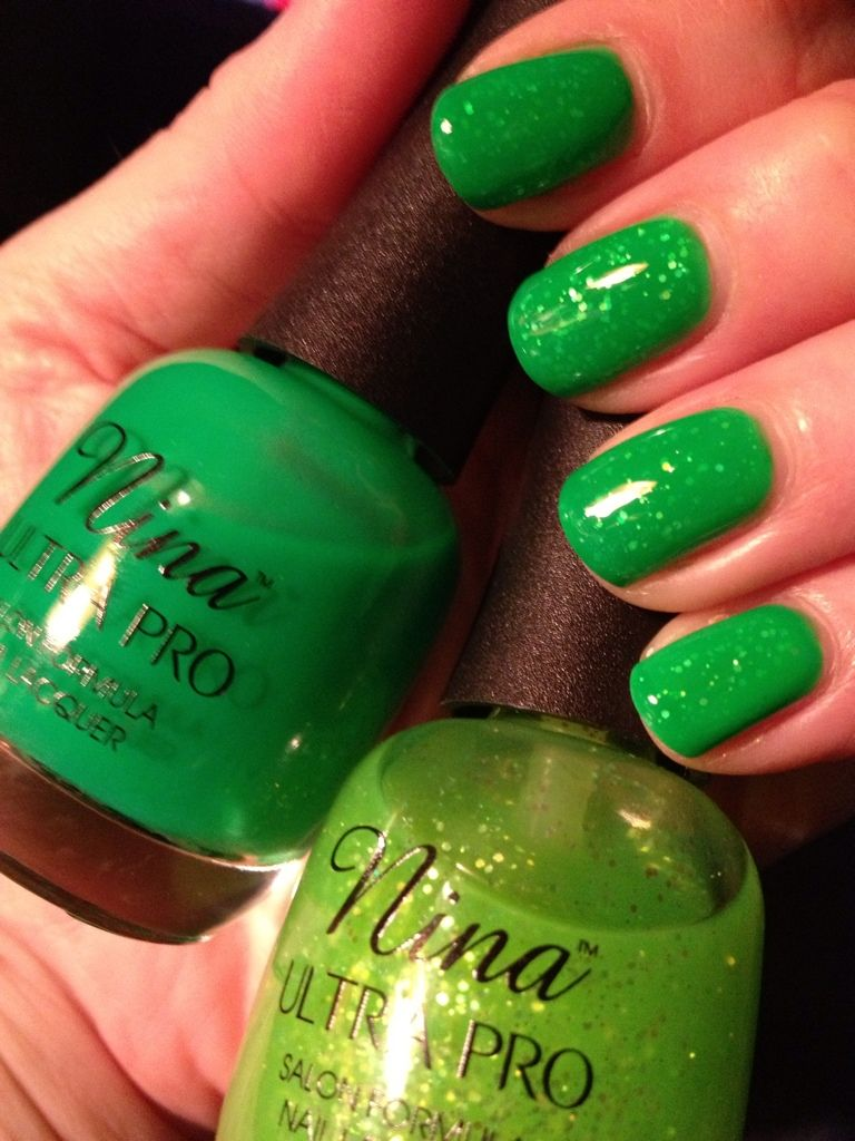 St. Patty\'s Day nails, jelly sandwich with Nina Ultra Pro (from ...