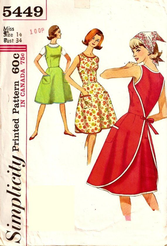 Vintage wrap apron dress sewing pattern, Simplicity 5449, similar to ...