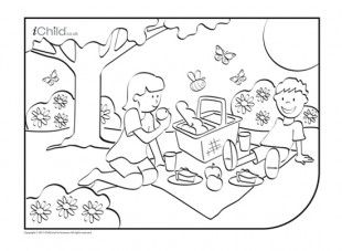 picnic scene coloring page a summer picture picnic scene for your child to colour in