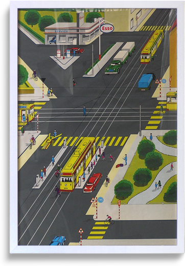 Rare 1950s promotional 'road safety' poster, Esso (3 of 6)