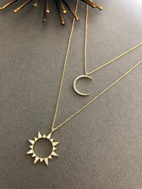 Photo of Celestial Sun & Moon Necklace, Sun necklace, Moon necklace, Moon and Sun, Dainty Minimalist Jewelry, Moon and sun, gift for her, muse411