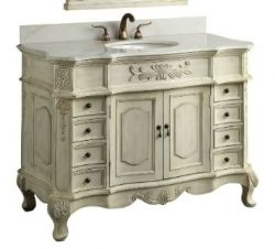 French Antique Dresser Style Bathroom Vanity With White Marble Counter