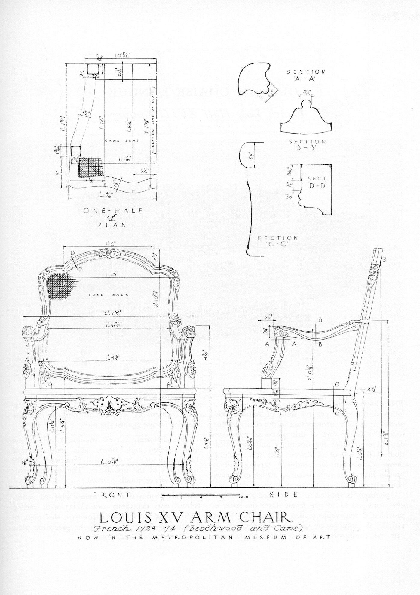 Louis Xv Technical Drawing Pinterest Planos Carpinter A Y  # Muebles Dibujo Arquitectonico
