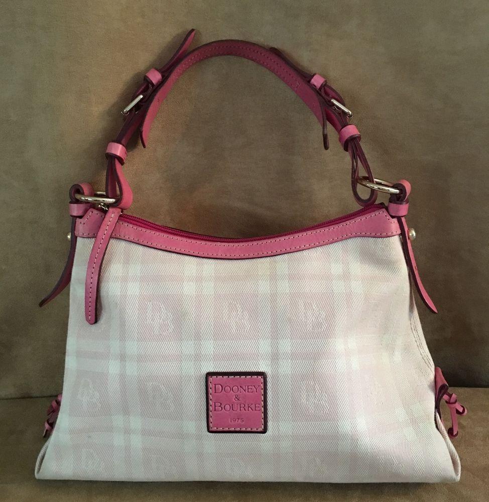Dooney Bourke Pink Signature Canvas Leather Logo Bag Purse Handbag And Dooneybourke Satchel