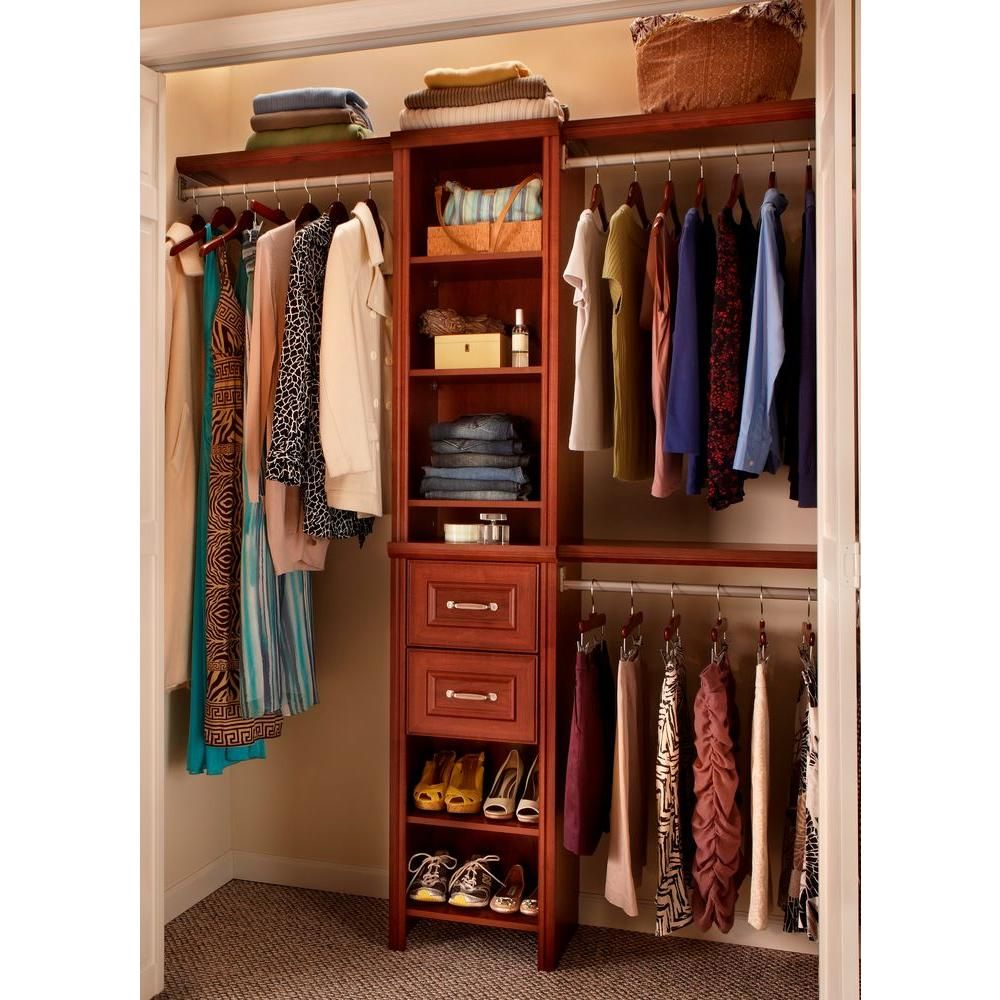 Closetmaid impressions 16 in w dark cherry narrow closet kit narrow closet closet designs Home depot bedroom design ideas