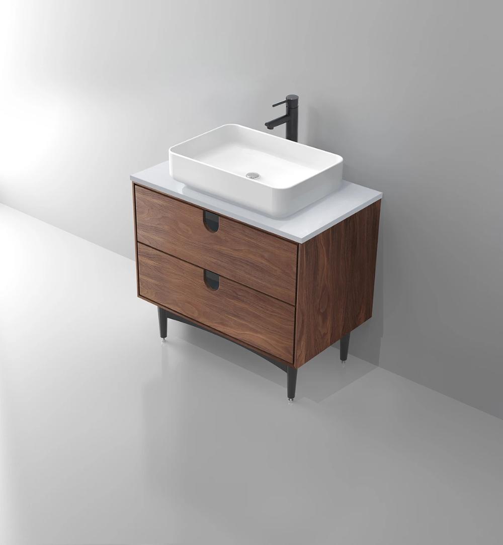 Portree 30 Walnut Mid Century Free Standing Bathroom Vanity With Images Single Bathroom Vanity Mid Century Bathroom Vanity Bathroom Vanity