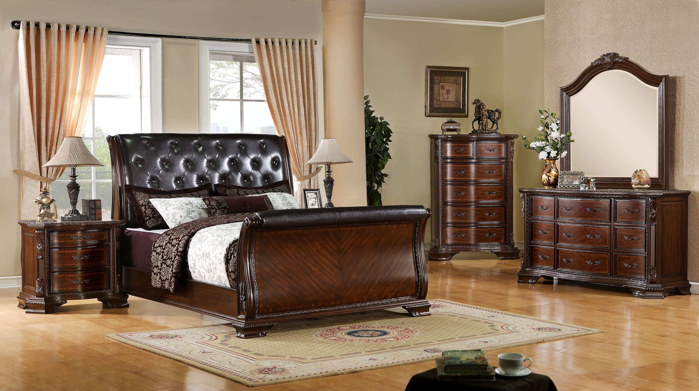 Bon 4 Piece South Yorkshire Sleigh Bedroom Set In Brown Cherry   USA Furniture  Warehouse