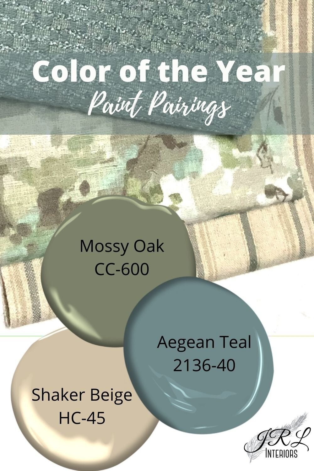 Fabric and Paint color pairings with Color of the Year Aegean Teal
