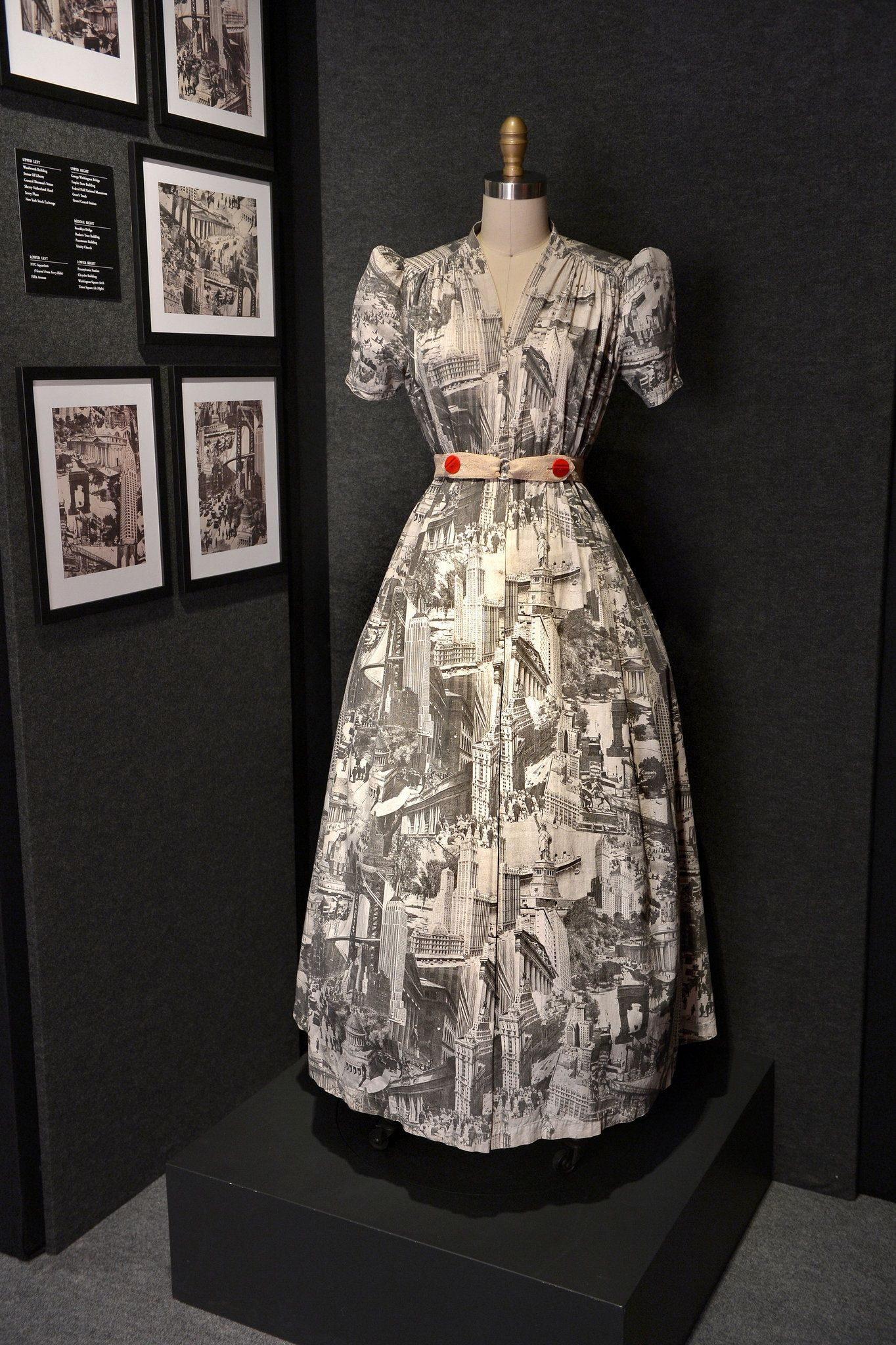 This dress, which was on view at the Winter Antiques Show, offers a photographic tour of 1930s New York.