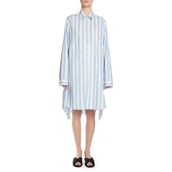 Womens Striped Cotton Shirtdress Balenciaga Big Discount Online BCZlf