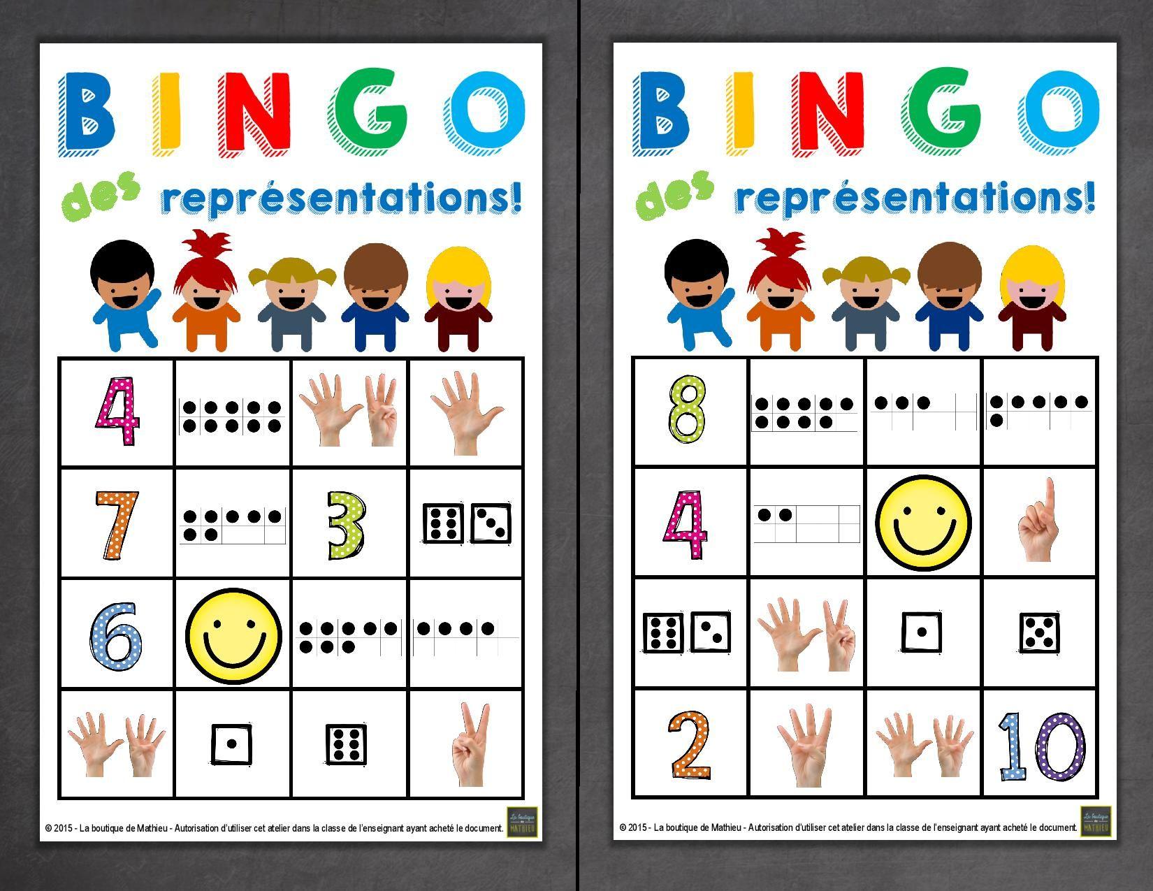 Jeu De Bingo Des Representations Des Nombres 1 A 10 La Boutique De Mathieu Ressources Pedagogiques Pour Les Enseignants Kindergarten Math Math Numbers School Items