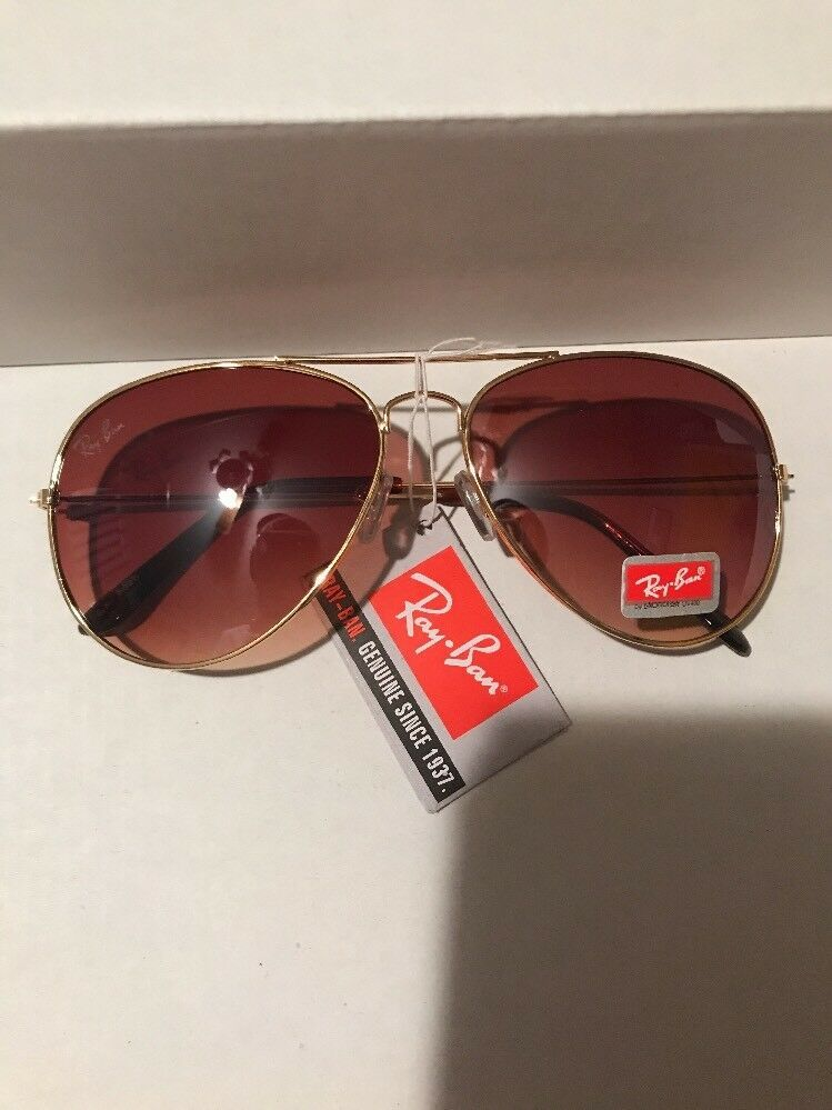 a2ef7f4430 Ray-Ban AVIATOR LARGE METAL Gold Brown Gradient Sunglasses NEW  fashion   clothing