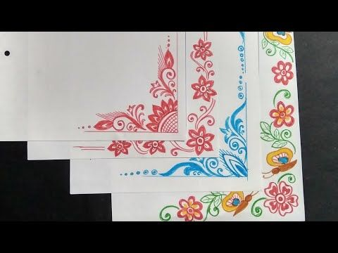 Border and corner design on paper for student   project khata part also rh pinterest