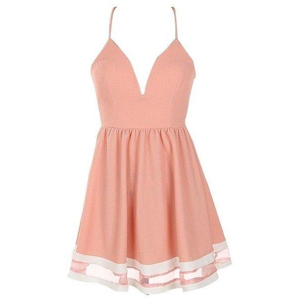 Light Coral Criss Cross Back Skater Dress (95 BRL) ❤ liked on ...
