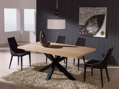 Table A Manger Rectangulaire En Bois Et Pietement Acier L180 Cm