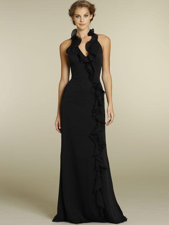 black chiffon casual long bridesmaid dress ruffled halter neck skirt ... 1aeeccd63