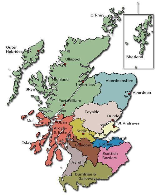Schotland Regio S Met Belangrijkste Plaatsen Schotland Reizen