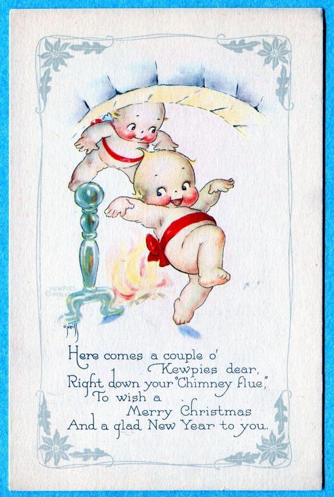 Y5356 Rose O'Neill Kewpie Postcard Christmas, Chimney