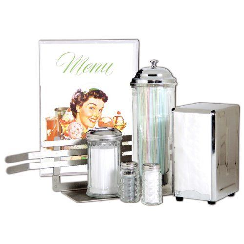 Retro Diner Style Tableware Set Straw Sugar Napkin Dispenser Salt and Pepper Menu Holder Menu Cover  sc 1 st  Pinterest & Retro 50s Diner Style Tableware Set by RetroPlanet http://www ...