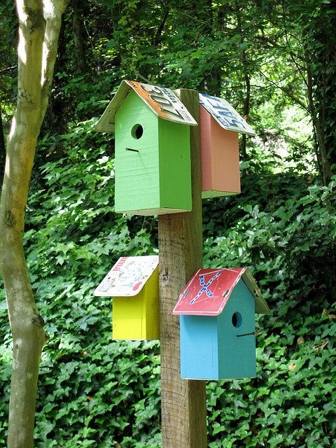 bird houses on post - pinner says~Meg painted some wooden bird houses recently. This would be a sweet way to display | http://awesome-beautiful-bird-of-paradise.blogspot.com